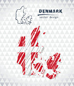 Denmark vector map with flag inside isolated on a white background. Sketch chalk hand drawn illustration