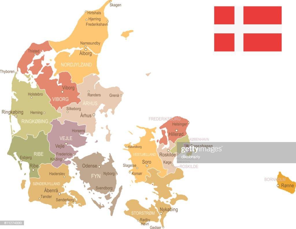 Denmark - vintage map and flag - illustration