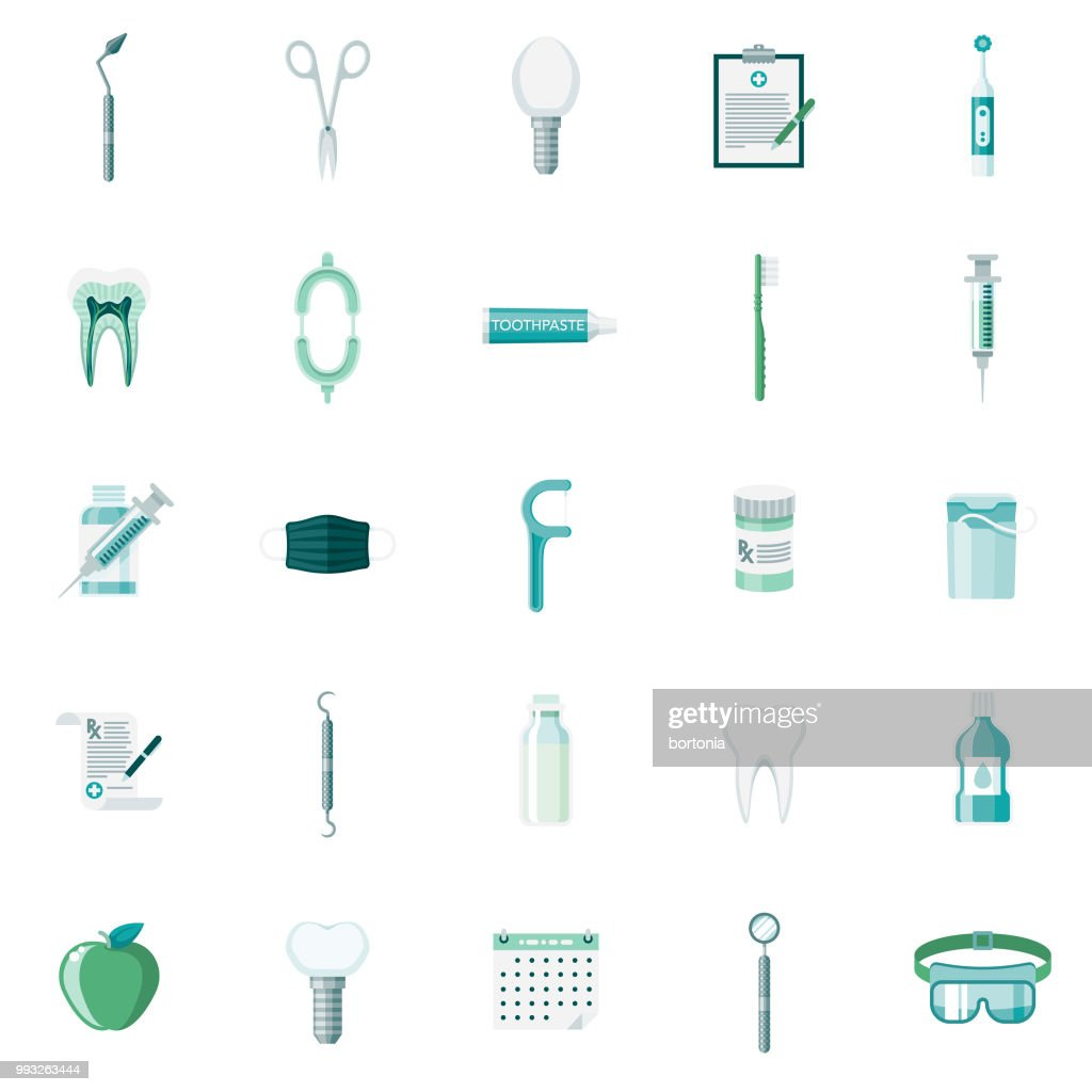 Dental Care Flat Design Icon Set : Stock Illustration