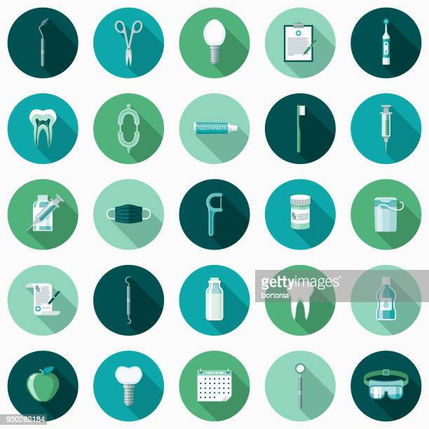dental care flat design icon set with side shadow - dental equipment stock illustrations