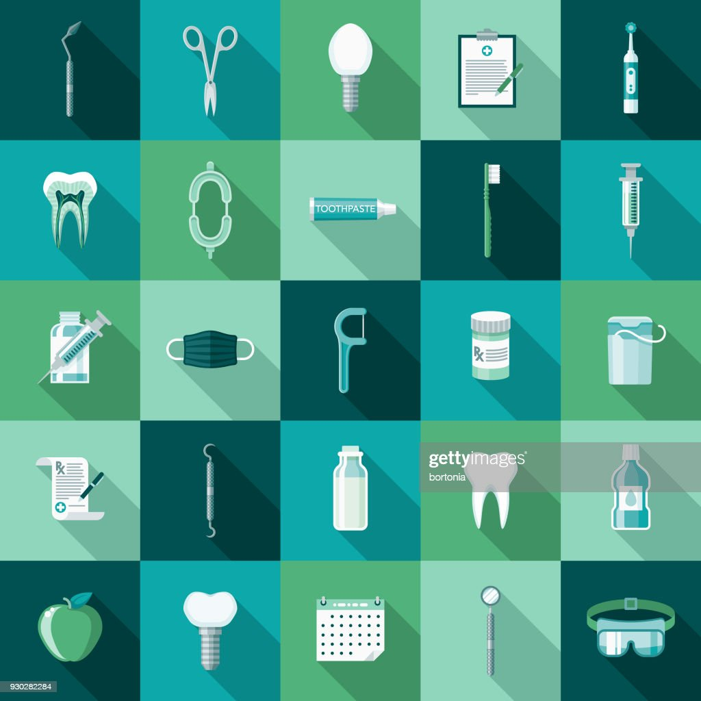 Dental Care Flat Design Icon Set with Side Shadow : Stock Illustration