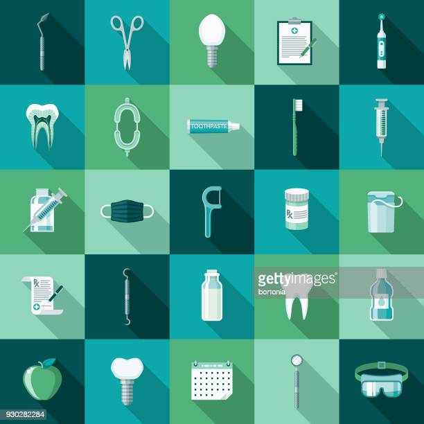 Dental Care Flat Design Icon Set with Side Shadow
