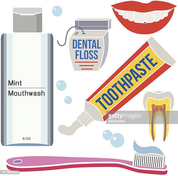 dental care grooming products - mouthwash stock illustrations
