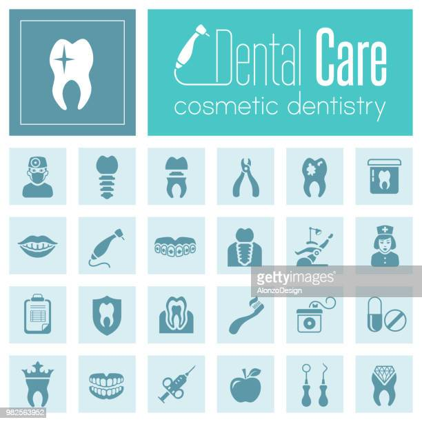 dental care icon set - dental drill stock illustrations