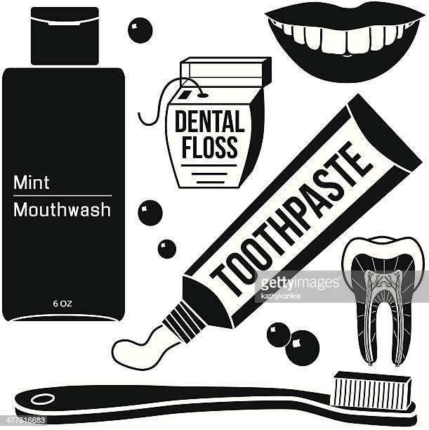 dental care icons in black and white - dental floss stock illustrations