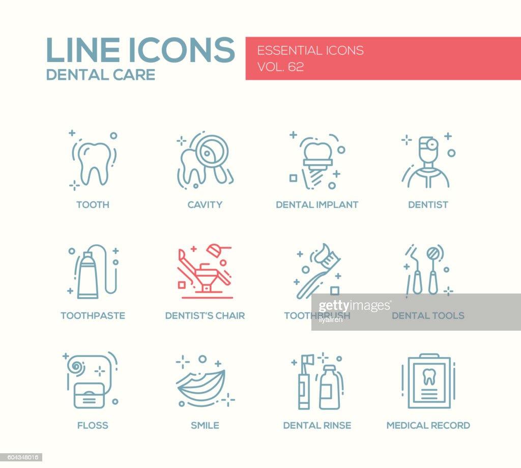 Dental Care - line design icons set