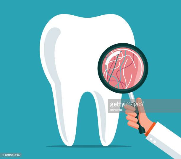 dental care - magnifying glass - mouthwash stock illustrations