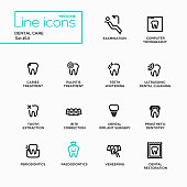 Dental Care - Single Line Pictograms Set