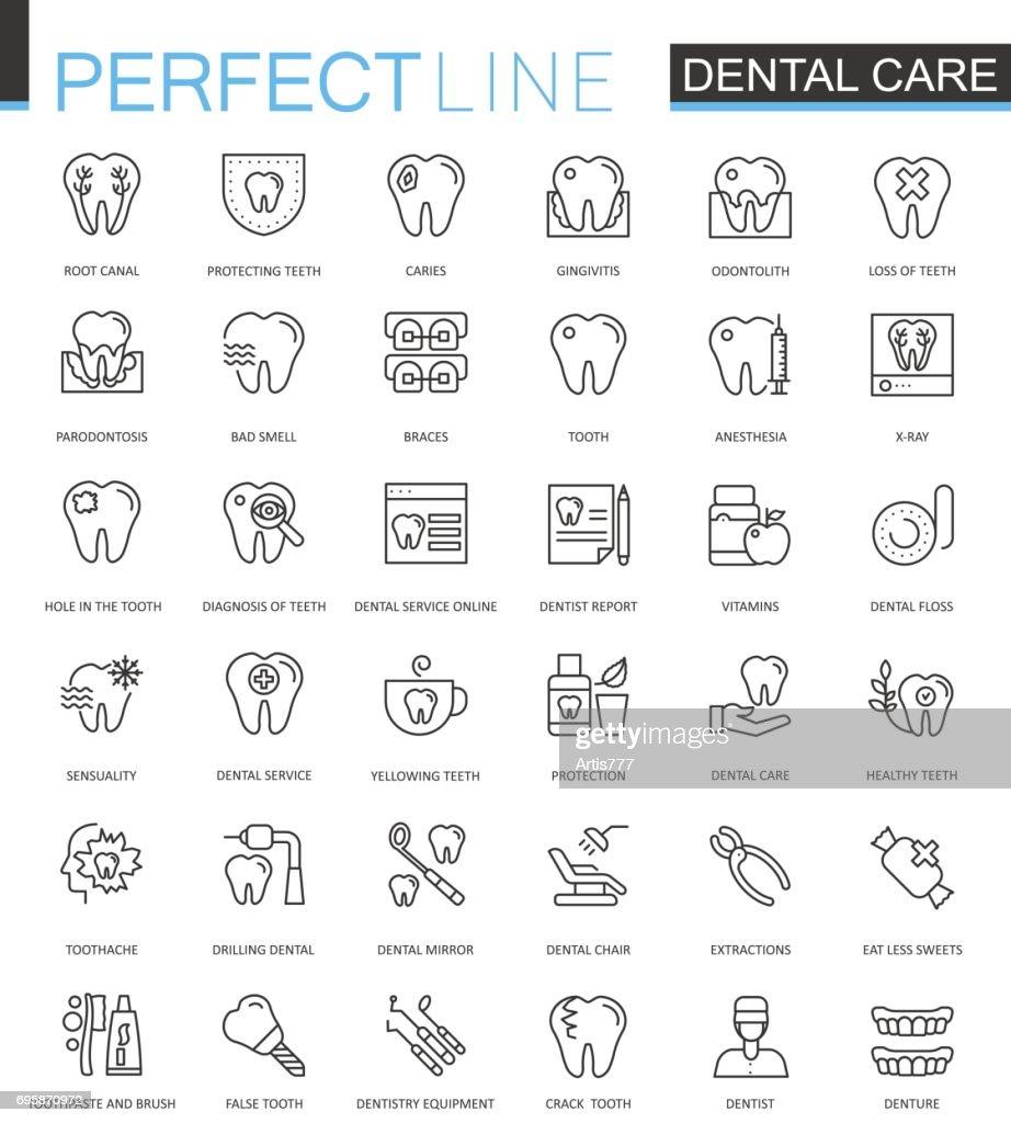 Dental care thin line web icons set. Outline stroke icons design.