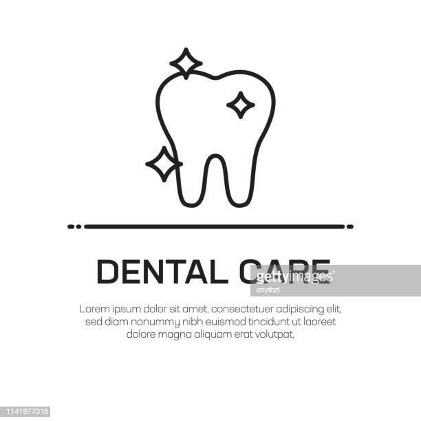 ilustraciones, imágenes clip art, dibujos animados e iconos de stock de icono de línea vectorial de cuidado dental: icono de línea delgada simple, elemento de diseño de calidad premium - dolor de muelas