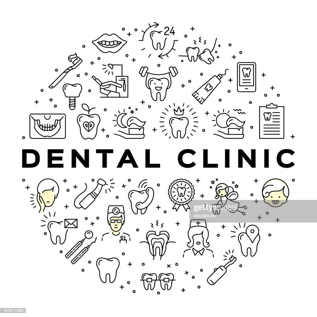 Dental clinic circle infographics Stomatology Dental care thin line art icons