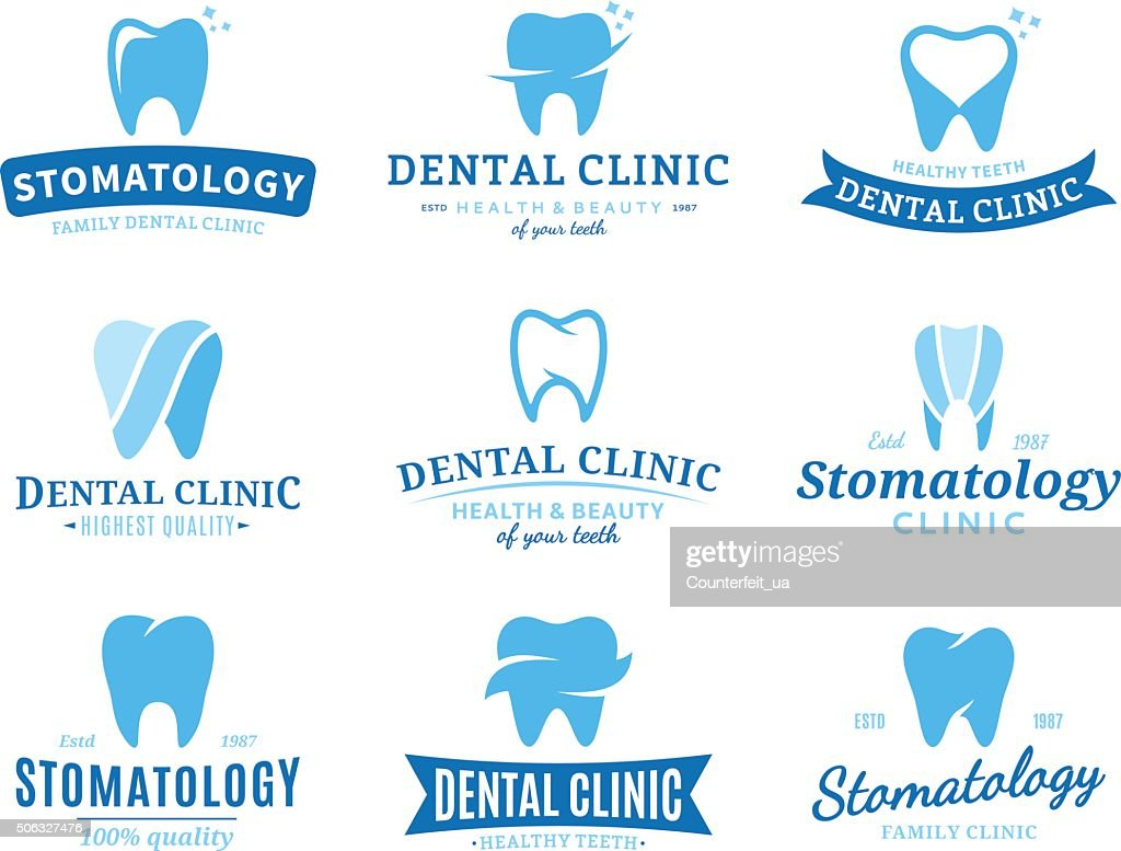 Dental Clinic Labels, Icons and Design Elements