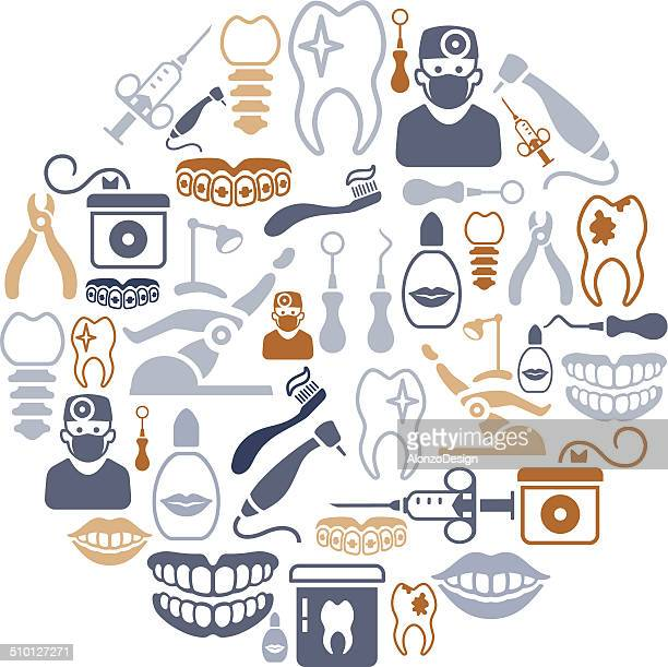 dental collage - toothache stock illustrations, clip art, cartoons, & icons