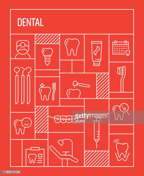 dental concept. geometric retro style banner and poster concept with dental line icons - dental equipment stock illustrations