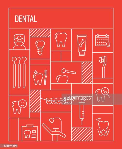 illustrations, cliparts, dessins animés et icônes de concept dentaire. bannière de style rétro géométrique et affiche concept avec des icônes de ligne dentaire - prothèse