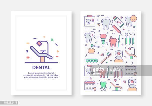 dental concept line style cover design für geschäftsbericht, flyer, broschüre. - zwischenbericht stock-grafiken, -clipart, -cartoons und -symbole