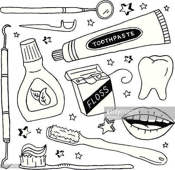 dental doodles - dental floss stock illustrations