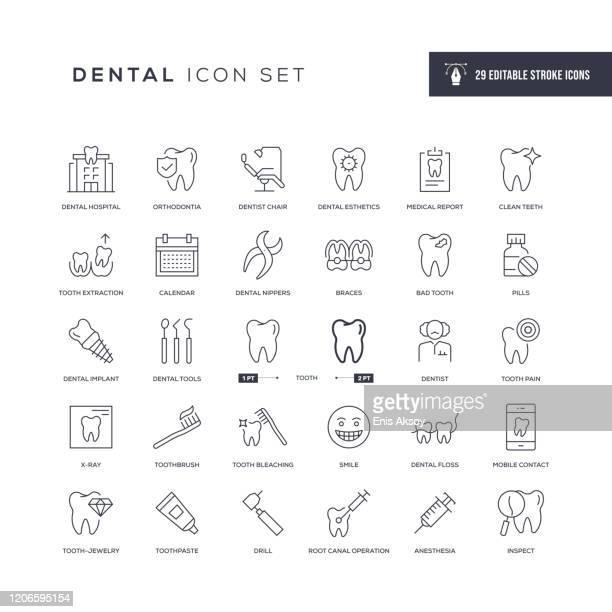 ilustraciones, imágenes clip art, dibujos animados e iconos de stock de iconos de línea de trazo editables dentales - dolor de muelas