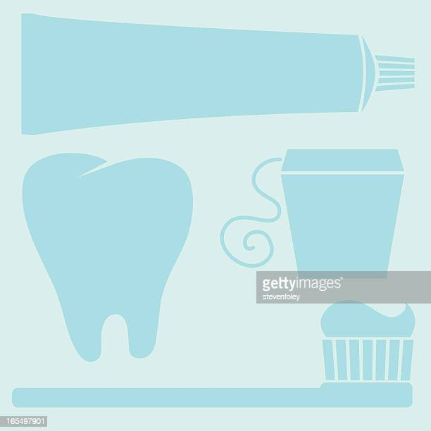 dental elements - toothpaste, toothbrush, floss, tooth - dental floss stock illustrations