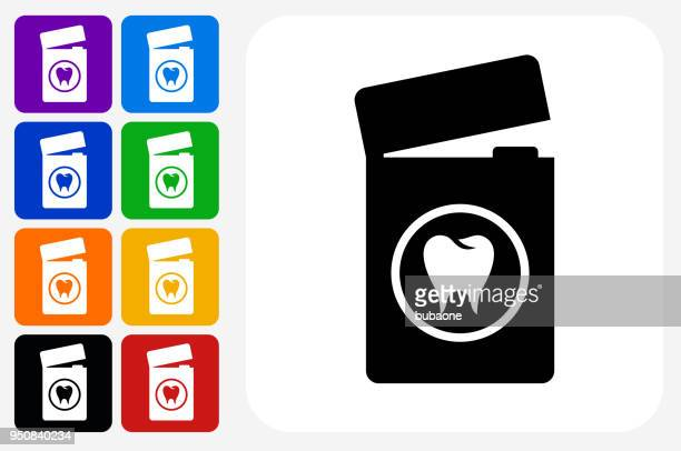 dental floss icon square button set - dental floss stock illustrations