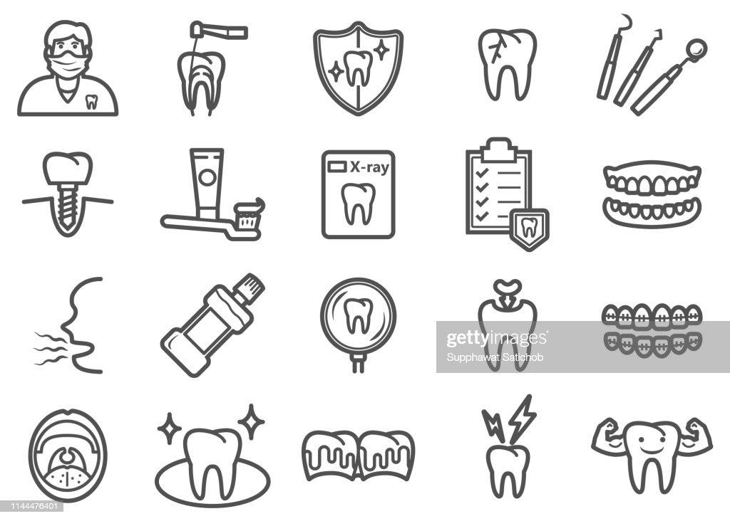 Dental Health Line Icons Set : Stock Illustration