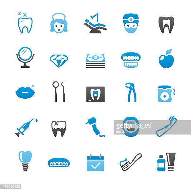 dental health related vector icons - dental drill stock illustrations