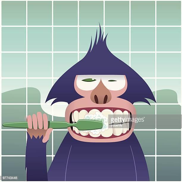 dental hygiene - brushing teeth stock illustrations