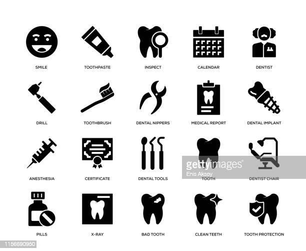 dental icon set - toothpaste stock illustrations