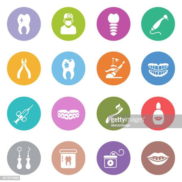 dental icon set - toothache stock illustrations, clip art, cartoons, & icons
