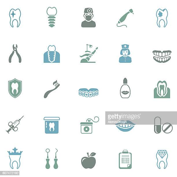dental icon set - dental drill stock illustrations