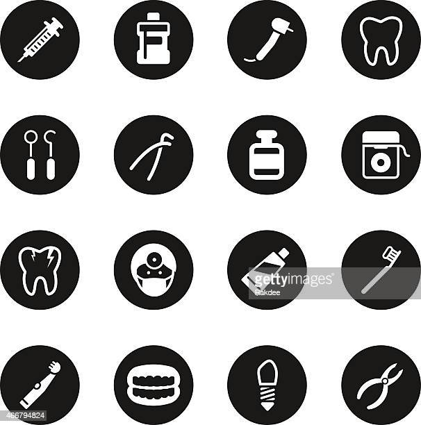 dental icons - black circle series - dental drill stock illustrations