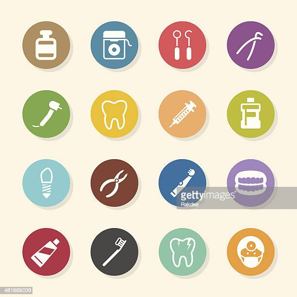 dental icons - color circle series - dental drill stock illustrations