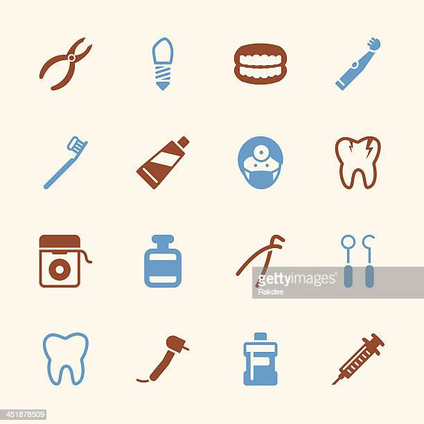 dental icons - color series | eps10 - dental drill stock illustrations