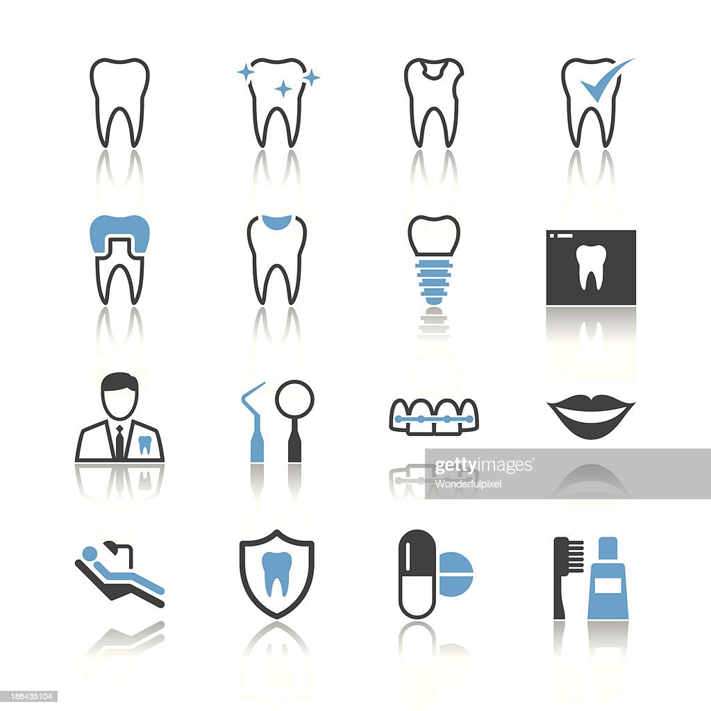 Dental icons - reflection theme