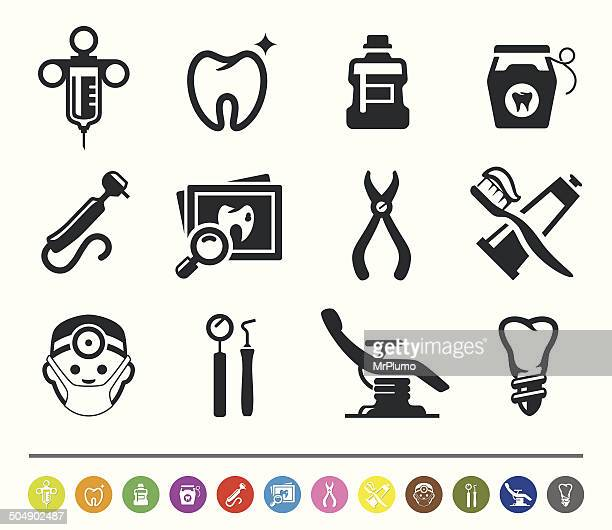 dental icons | siprocon collection - dental drill stock illustrations