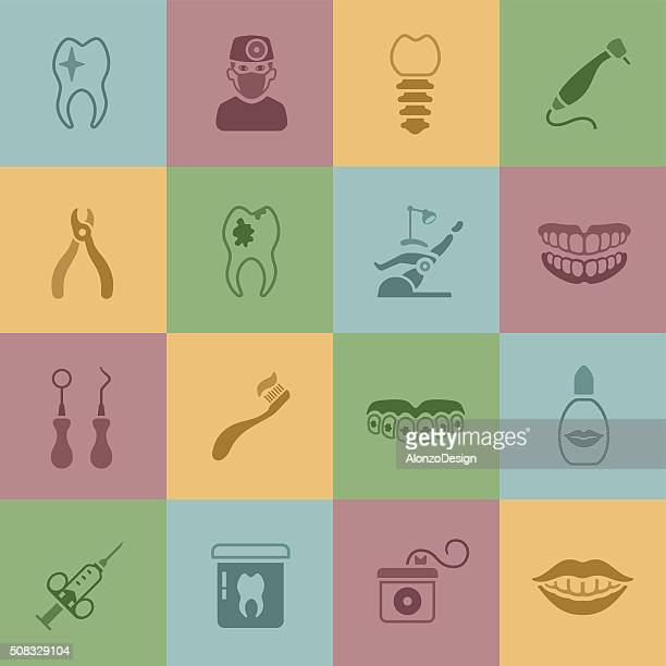 dental icons - dental drill stock illustrations