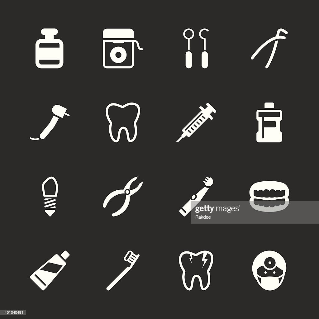 Dental Icons - White Series | EPS10 : Stock Illustration