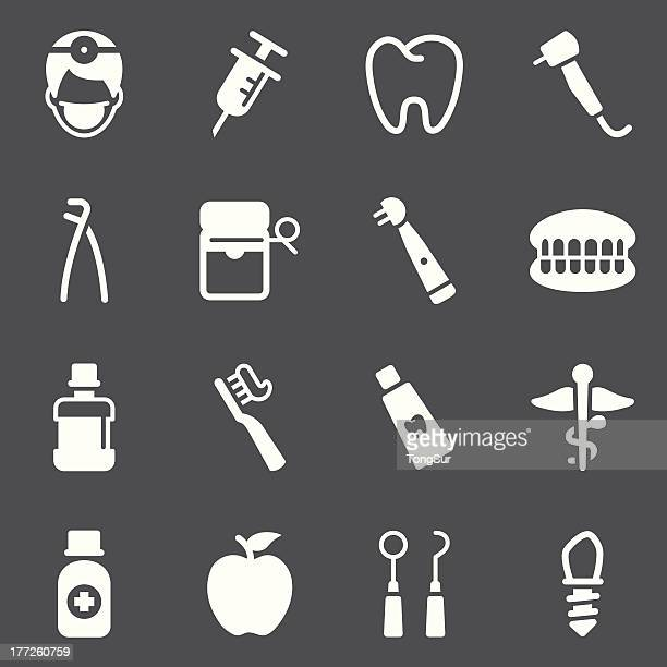 dental icons - white series - dental drill stock illustrations