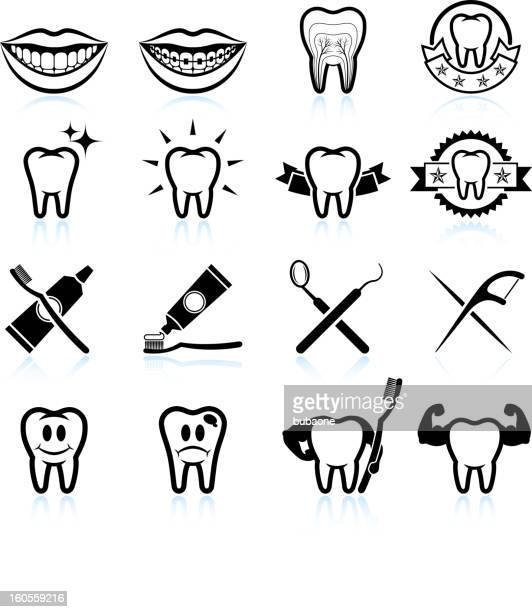 Dental Image Designs black and white vector icon set