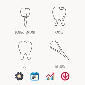 Dental implant, caries and tooth icons.