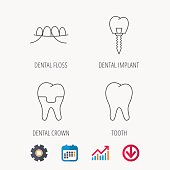 Dental implant, floss and tooth icons.