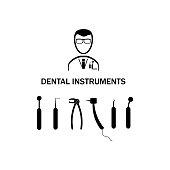 Dental instruments set. Vector illustration