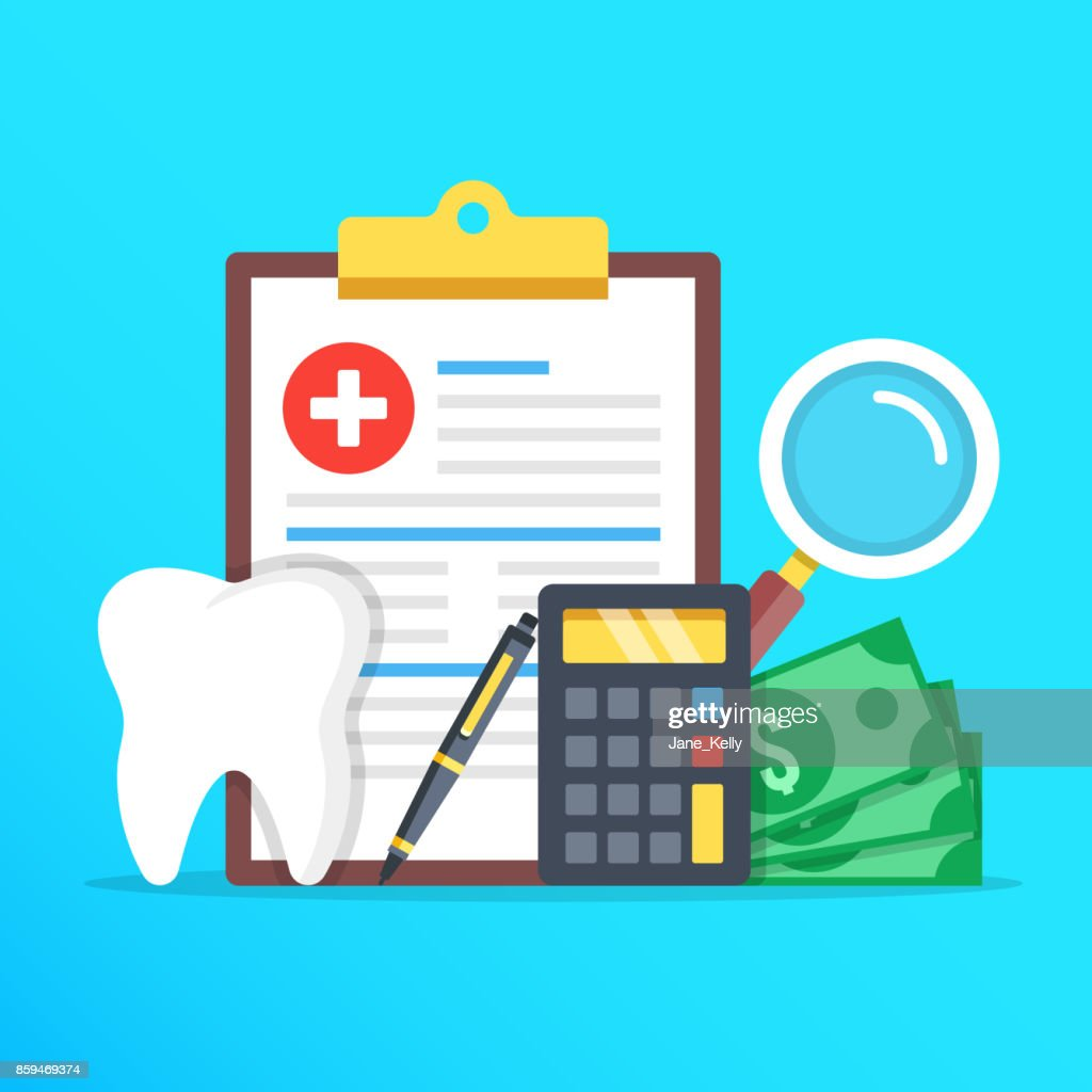 Dental insurance, dental care concept. Dental insurance form, tooth, calculator, pen, money, magnifier flat design graphic elements set. Vector illustration