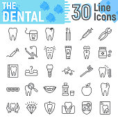 Dental line icon set, Stomatology symbols collection, vector sketches, logo illustrations, Dental clinic signs linear pictograms package isolated on white background, eps 10.