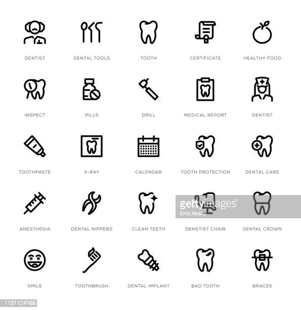 dental line icon set - dental drill stock illustrations