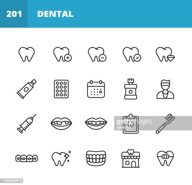 歯科ラインのアイコン。編集可能なストローク。ピクセルパーフェクト。モバイルとウェブ用。歯,保護,歯磨き粉,ピル,カレンダー,歯科医,注射器,麻酔,スマイル,歯白色,歯のクリーニング,入� - レントゲン撮影装置点のイラスト素材/クリップアート素材/マンガ素材/アイコン素材