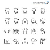 Dental line icons. Editable stroke. Pixel perfect.
