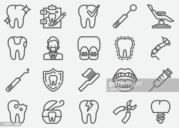 dental line icons - dental equipment stock illustrations