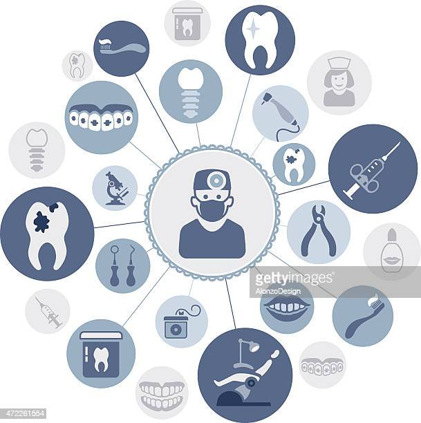 dental montage - dental floss stock illustrations