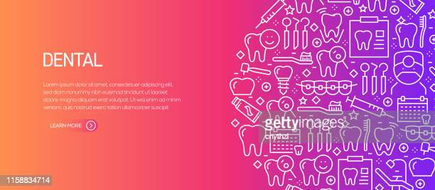 dental related banner template with line icons. modern vector illustration for advertisement, header, website. - dental equipment stock illustrations